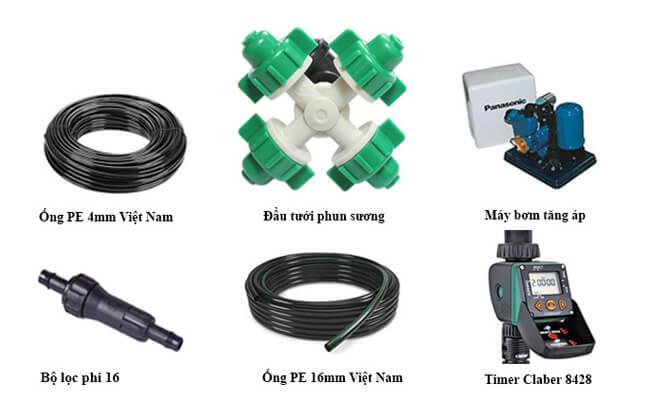 Các thiết bị trong hệ thống tưới phun sương cho lan